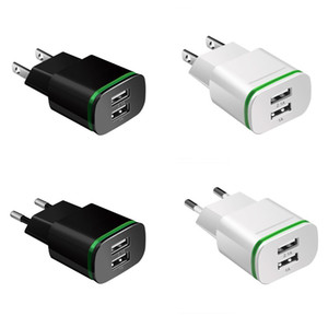 2 Portas LED Luz USB Charger 5V 2A Mobile Phone Adapter White Wall Preto Viagem Micro Charging Adapter