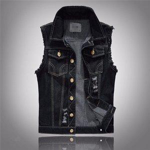 Artı boyutu Mens Siyah Denim Vest Yüksek Moda Streetwear Erkekler Rasgele Kolsuz Ceket Slim Fit Kore Man Yelek Ücretsiz Kargo