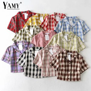 Women's Clothing Summer blouse women vintage crop shirt streetwear plaid ladies tops elegant button up shirt korean crop top red 2020