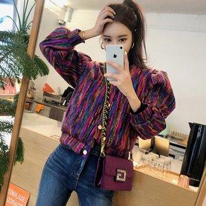 Otoño e invierno nueva versión coreana de la moda de un solo pecho de color pequeña chaqueta femenina de la chaqueta temperamento corto párrafo