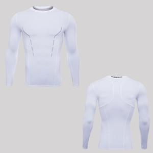 Идущие рубашки сухой FIT MENS тренажерный зал одежда совок шеи длинные рукава qltty DRI белье бодибилдинг suiit полиэфирной одежды