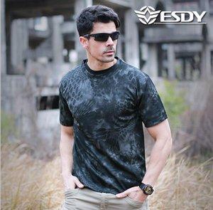 Exército Quick Dry respirável O Collar 3D Camiseta ESDY Outdoor Caminhadas Camping T Shirt Tactical Verão manga curta Relaxe T-shirt