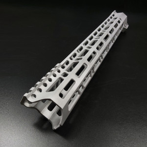 Lightweight 15 Inch Clamp Mount Type M-LOK Handguard Rail Edge CNC Chamfering For .223 5.56 Raw aluminum Color