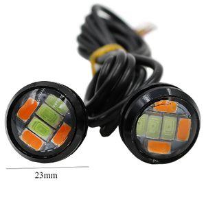 8PCS DRL водить дневного света Eagle Eye 23мм двойной цвет автомобиля в дневное время Фара сигнал поворота свет DRL лампы Tail Light