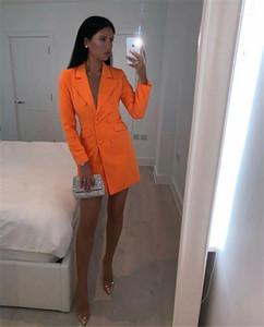 Farbe designer blazer revers neck slim büro dame kleidung sommer weibliche doppelreiber mantel neue womens solide