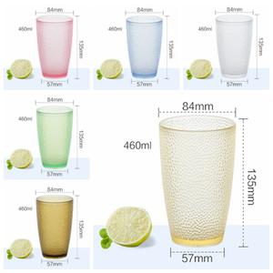 200ml-460ml Zumo de fruta Vasos acrílico vidrios de consumición de la cerveza taza de plástico botella de bebida de color de agua Copas GGA3500