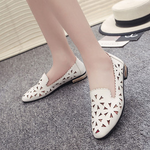 SAGACE Appartements pour femmes décontractées Flower Flats Women chaussures confortables en cuir solide Chaussures Femmes Femmes plates Souliers simple 42611