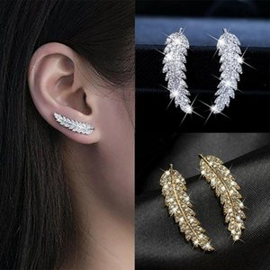 Delicate Feather & Leaf Shaped Earrings For Women Silver color  Gold-Color Party Daily GiftFashion Jewelry KAE060