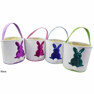 Easter Sequins Rabbit Basket Easter Bunny Bags Rabbit Printed Canvas Tote Bag Egg Candies Baskets Party Favor 4 Colors RRA2595
