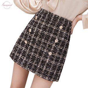 Small Fragrance Woolen Mini Skirt 2019 Winter Women Plaid Vintage Plaid Gold Double Breasted Tweed A Line Skirt High Waist Femininas