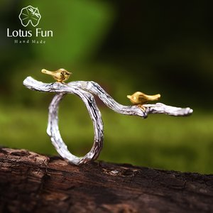 Lotus Fun real 925 Sterling Silver Original Handmade Fine Jewelry Pássaro ouro ajustável anel 18K no ramo Anéis para as Mulheres Bijoux