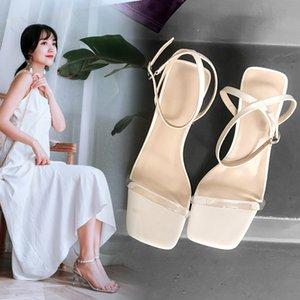 Ebullient2019 Грубый Transparent High сандалии Женщина Одно слово Bring Toe Женская обувь