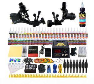 Beginner Tattoo Guns Kits 2 Professional Tattoo Machine Kit Rotary Machine Guns 54 Inks Power Supply Needle Grips Set