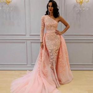 Unique Une Epaule Sirene Rose Robes De Soirée avec Le Train Amovible Appliques De Dentelle À Manches Longues Abric Dubai Celebrity Robes