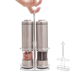 4style eléctrico Sal y Pimienta Grinder Conjunto de 2 stand de metal automático de acero inoxidable molino de pimienta con las herramientas de LED luz de la cocina