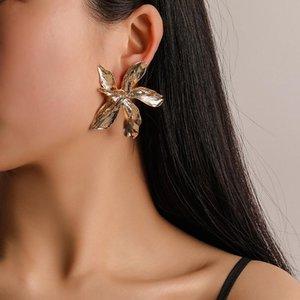 Forma de la flor de oro de plata Pendientes de grandes multi-capa Declaración joyería del día de la estrella del metal de moda para las mujeres