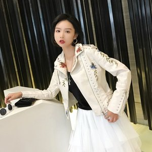 Punk Women Faux Soft Faux Leather Jacket Embroidery Floral Leather Jacket Zipper Pu Motorcycle Outerwear