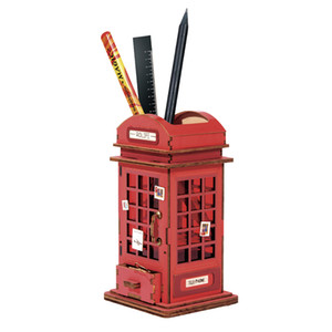 ROBOTIME 3D DIY Phone Booth forma de pincel Pen vapor Titular Puzzle Game Toy presente para crianças Adulto TG13 Y200413