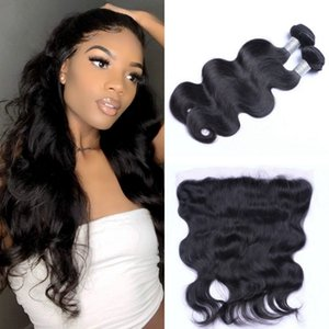 Body Wave 2 Bundles With Frontal Malaysian Human Hair 13x4 Ear to Ear Lace Frontal Closure with Bundles
