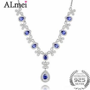 Collana Almei 1ct Tanzania Colore Topaz strass Big Pendant S925 farfalla classica di cristallo Fine Jewelry Box libero 40% FN093