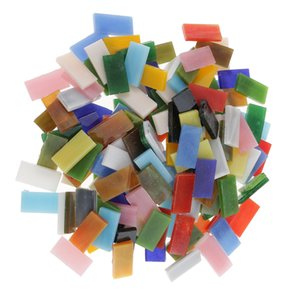 150 Pieces Rectangle Shape Mixed Color Glass Mosaic Tiles Tessera for Mosaic Making Crafts Supplies 10x20mm