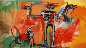 Jean Michel Basquiat Início Wall Art Decor pintado à mão HD pintura Imprimir a óleo sobre tela Menino e cão em um Johnnypump Grande Imagem 190921