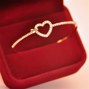 2020 Hot Fashion Bracelet Adjustable Crystal Double Heart Bow Cuff Opening Bracelet For Women Jewelry Gift Jewelry wholesale