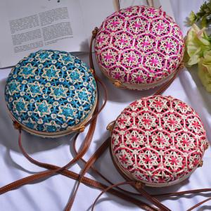 Kadınlar için Lovevook yuvarlak bambu çanta yaz saman torbası Bohemia plaj seyahat crossbody bayanlar için torbayı dokuma rattan