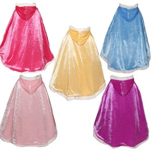 Hooded Faux Velvet Cape Cloak Girls Anna Elsa Dress Up Princess Costume Shawl Cape For Kids Outwear Robe Cape Party Prom Shawl