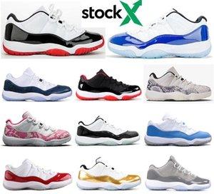 Neue 11 Low Concord 2020 Weiß Bred Blau Snakeskin Abschlussfeier Basketball-Schuhe Männer 11s UNC Kirsch Varsity Red Smaragd Turnschuhe mit Kasten