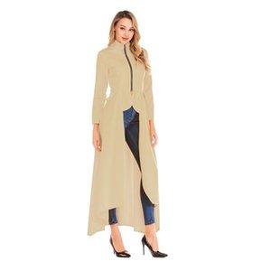 Moda Usulsüzlük Standı Yaka Hendek Coats Bahar Fermuar Uzun Kollu Tasarımcı Coats Yeni Casual Kadın Giyim