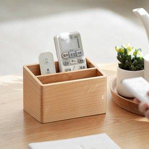 Nordic Wooden Desktop Remote Control Storage Box Household Sundries Finishing Cosmetics Racks Modern Home Decoration Accessories