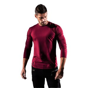 2019 gym New men's fashion Fitness T-shirt, thin breathable collar, long-sleeved undercoat for outdoor running gym Long Sleeve