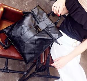 Leisure brand luxury female shoulder bag new simple soft leather stitching wild lock buckle fashion handbag