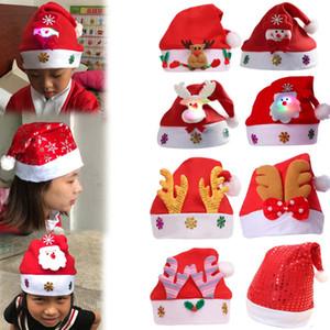 Bambini Glow Natale cappello del Beanie della peluche del fumetto Pom Pom di Natale Santa Cap simpatico pupazzo di neve dei cervi Xmas Party Hats TTA2040-7