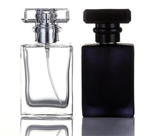 30ML Clear Black Portable Glass Perfume Spray Bottles Empty Cosmetic Containers With Atomizer For Traveler Free DHL