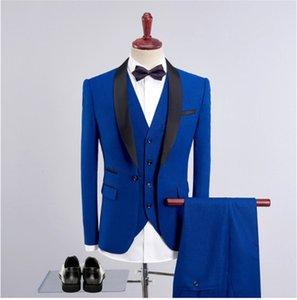 Slim Fit Men Suits Royal Blue Blazer Latest Coat Pant Designs Groom Wedding Dress Tuxedo Wine Red Suit Male 3 Pieces(Jacket+Pants+Vest)