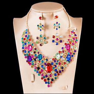 Venta al por mayor 2018 parure bijoux femme mariage compromiso joyería nupcial conjuntos collar y pendientes seis colores envío gratis