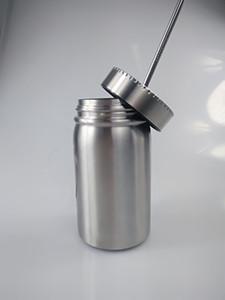 17OZ pot Mason en acier inoxydable tasse Mason tumbler avec de la paille de 17 oz couvercle tasse de jus de bière café maçon Cans potable Sippy