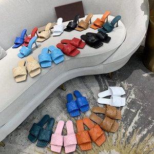 2020 Mulheres Lido Sandálias do verão Slipper tecido de couro mulas Squared Sole Lido Slides Sandália sexy Partido Salto Alto Sandálias Sapatos com Box