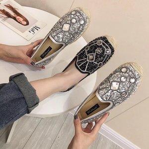 Pop2019 délicates chaussures de célibataire de chaussures de pêcheur strass Paillette Dawdler été