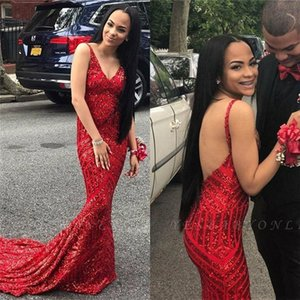 2021 African Mermaid Prom Dresses vestidos de fiesta Sexy Backless Sequin Evening Dress Formal Party Gowns