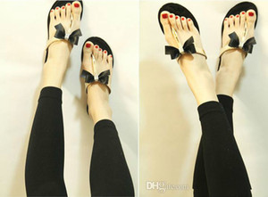 Оптовая Bow Thong Jelly Shoes Женщина Желе Шлепанцы Сандалии Женские Плоские Тапочки