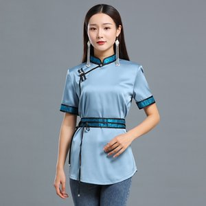 Summer mongolian Casual silk women Blouse Tang suit style short sleeve top grassland living shirt Asia ethnic Costume elegant clothing