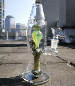 Heiße verkaufende einzigartige Lava-Lampen-Glaspfeife Interne Recycler Dab Rig Showerhead Percolator Bongs Grün Einzigartige Bong mit 14mm Joint Bowl