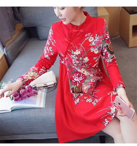 Autumn Cotton Linen Qipao Dress Traditional Chinese Folk Style Improved Plate Buckle Printing A-Line Cheongsams Dresses