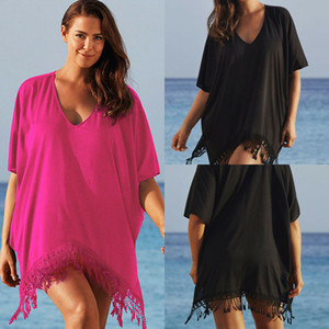 Le donne Plus Size bikini delle signore del merletto della nappa dello Swimwear Swimsuit Cover Up Dress Beach