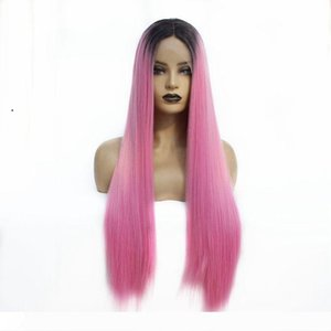 Cheap Silky Straight Dark Roots Ombre Pink Natural Soft Synthetic Lace Front Wigs for Black Women