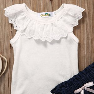 Toddler Kids Baby Girls Clothes T-shirt Top Short Smart Soft Denim Pants Trousers Outfit 2PCS Clothing Set