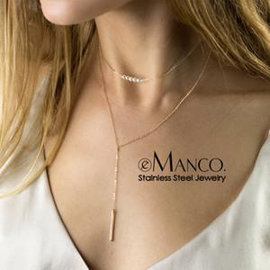 e-Manco imitação pérolas gargantilha colar de mulheres longo colar de aço inoxidável de jóias mulheres pendant